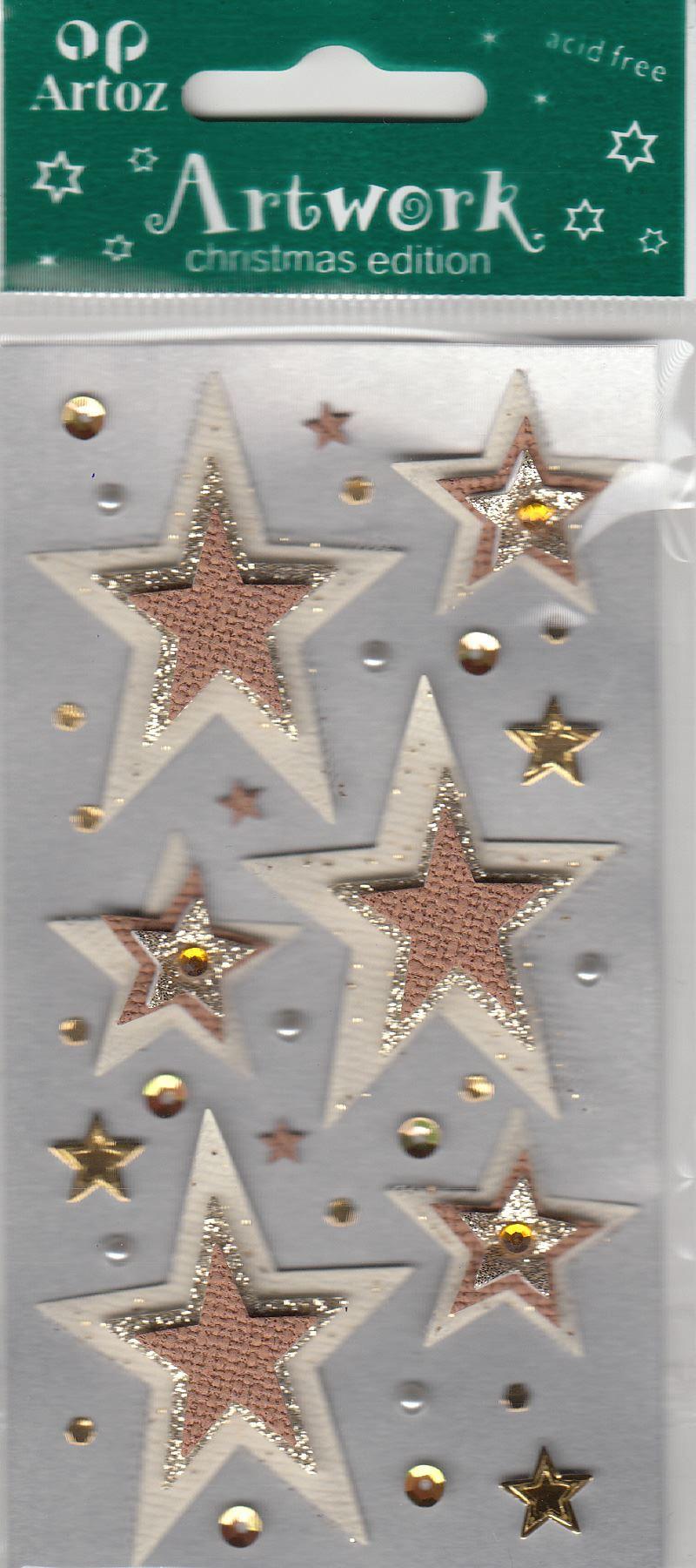 Blue Silver Glitter Stars Craft Embellishment Christmas Scrapbook Stickers