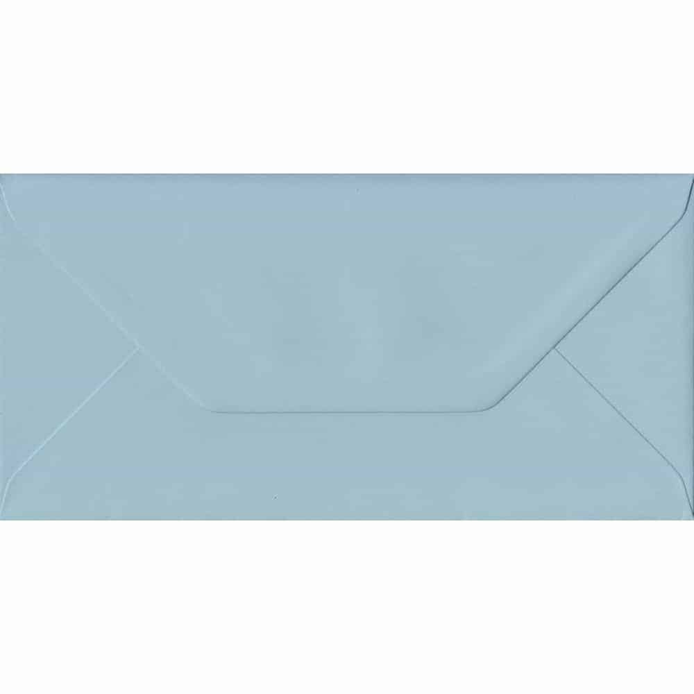 100 DL Blue Envelopes. Baby Blue. 110mm x 220mm. 100gsm paper. Gummed Flap.