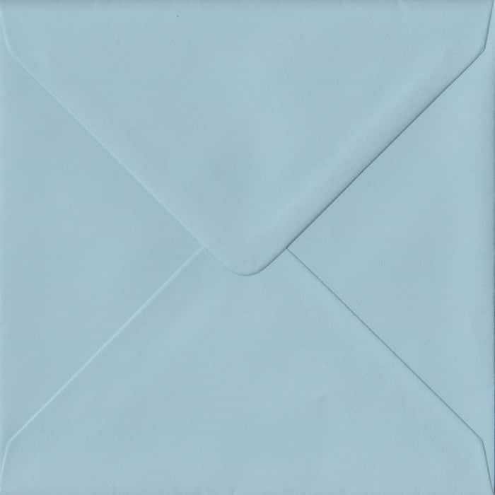 100 Square Blue Envelopes. Baby Blue. 155mm x 155mm. 100gsm paper. Gummed Flap.