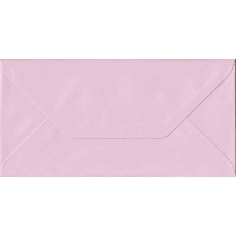 100 DL Pink Envelopes. Baby Pink. 110mm x 220mm. 100gsm paper. Gummed Flap.
