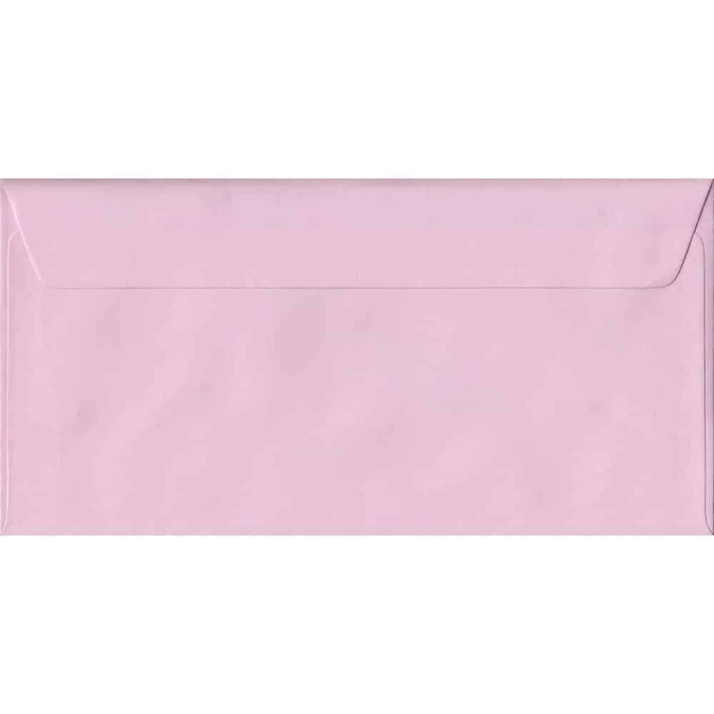 100 DL Pink Envelopes. Baby Pink. 110mm x 220mm. 100gsm paper. Peel/Seal Flap.