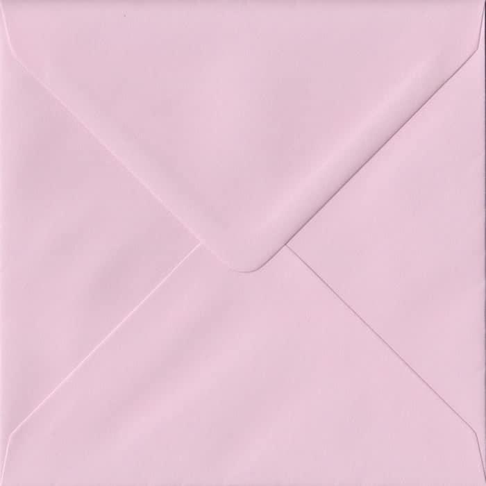 100 Square Pink Envelopes. Baby Pink. 155mm x 155mm. 100gsm paper. Gummed Flap.
