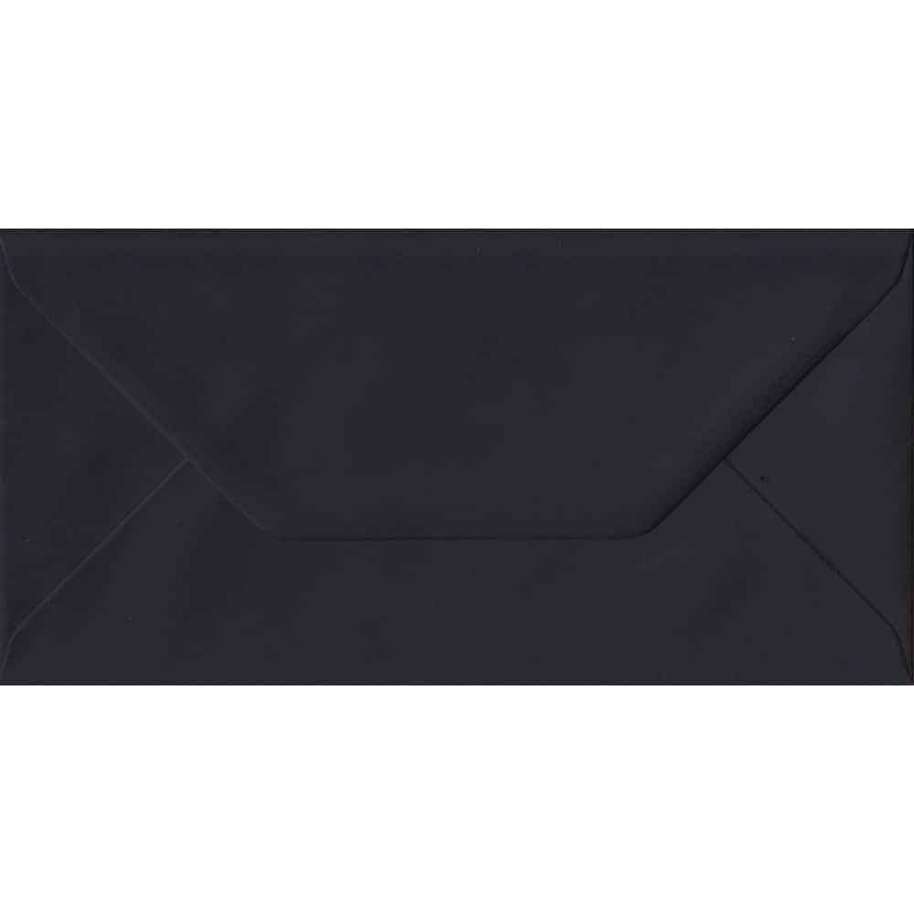 100 DL Black Envelopes. Black. 110mm x 220mm. 100gsm paper. Gummed Flap.