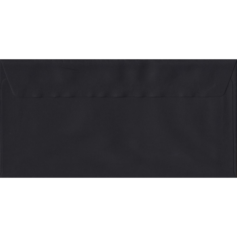 100 DL Black Envelopes. Black. 110mm x 220mm. 100gsm paper. Peel/Seal Flap.