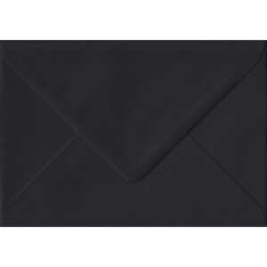 100 A6 Black Envelopes. Black. 114mm x 162mm. 100gsm paper. Gummed Flap.