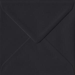 100 Square Black Envelopes. Black. 155mm x 155mm. 100gsm paper. Gummed Flap.