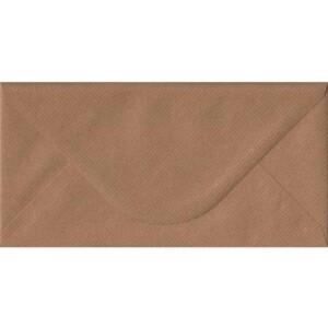 100 DL Brown Envelopes. Brown Ribbed. 110mm x 220mm. 100gsm paper. Gummed Flap.