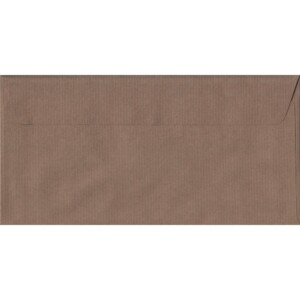 100 DL Brown Envelopes. Brown Ribbed. 110mm x 220mm. 100gsm paper. Peel/Seal Flap.