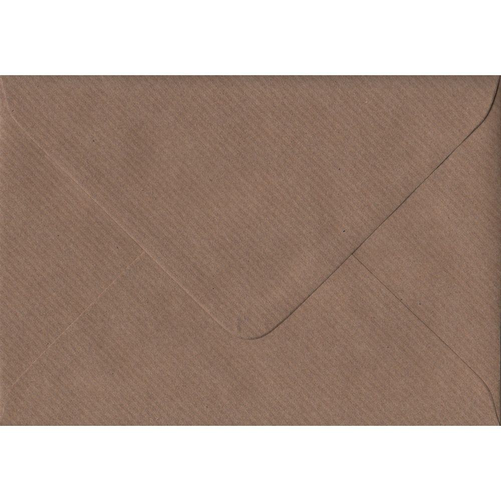 100 A6 Brown Envelopes. Brown Ribbed. 114mm x 162mm. 100gsm paper. Gummed Flap.