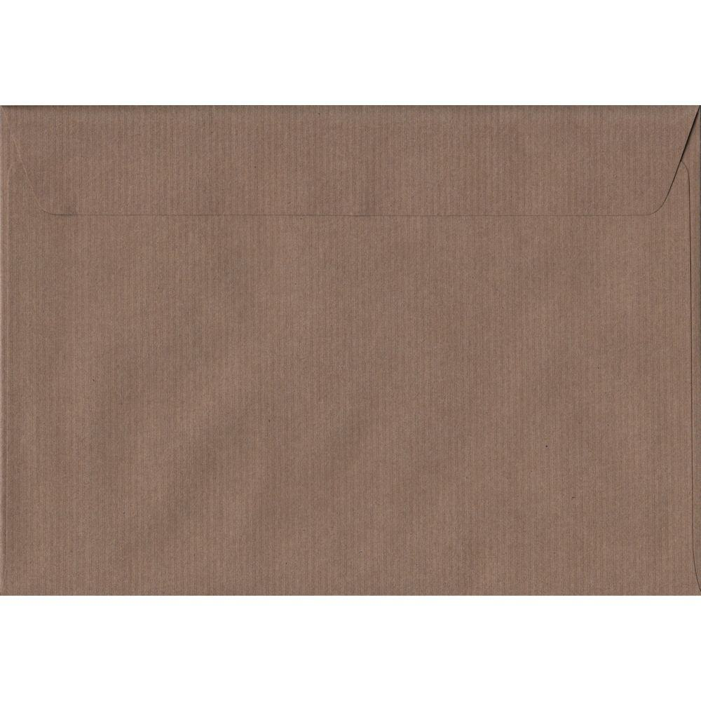100 A5 Brown Envelopes. Brown Ribbed. 162mm x 229mm. 100gsm paper. Peel/Seal Flap.