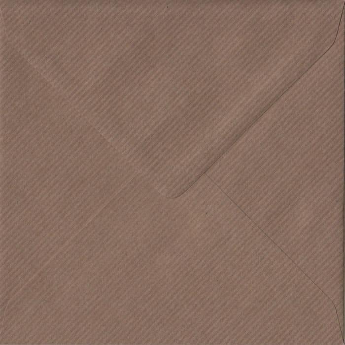 100 Square Brown Envelopes. Brown Ribbed. 155mm x 155mm. 100gsm paper. Gummed Flap.