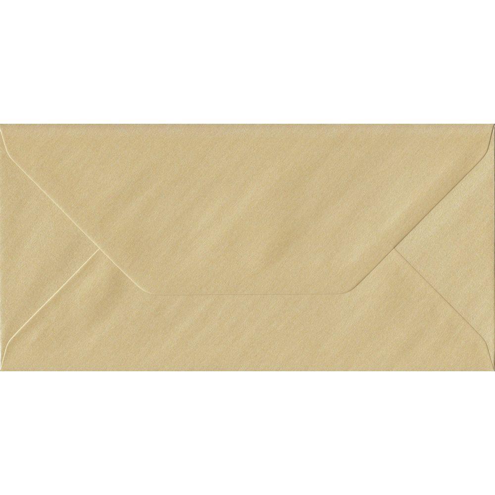 100 DL Champagne Envelopes. Pearl Champagne. 110mm x 220mm. 100gsm paper. Gummed Flap.