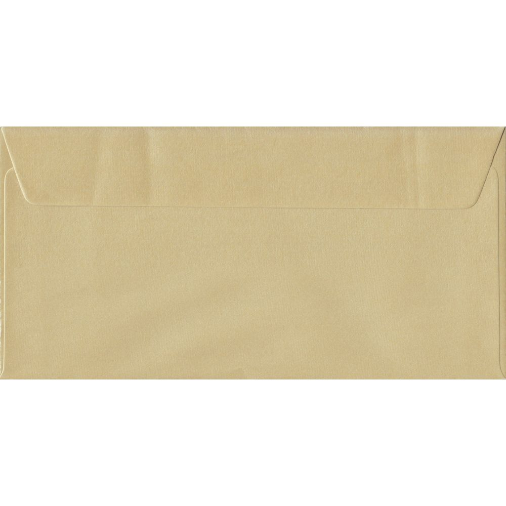 100 DL Champagne Envelopes. Pearl Champagne. 110mm x 220mm. 100gsm paper. Peel/Seal Flap.