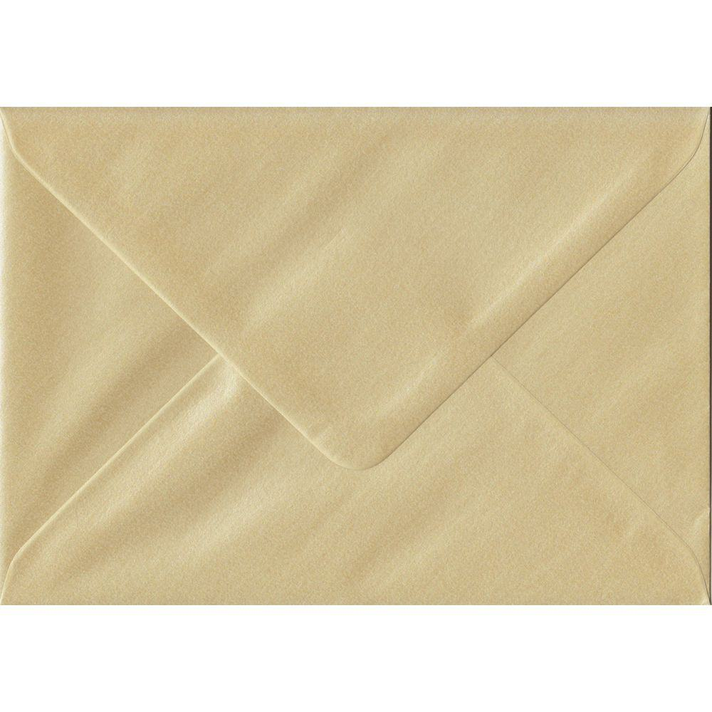 100 A6 Champagne Envelopes. Pearl Champagne. 114mm x 162mm. 100gsm paper. Gummed Flap.