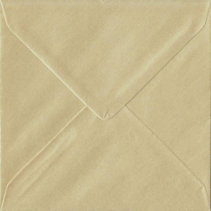 100 Square Champagne Envelopes. Pearl Champagne. 155mm x 155mm. 100gsm paper. Gummed Flap.