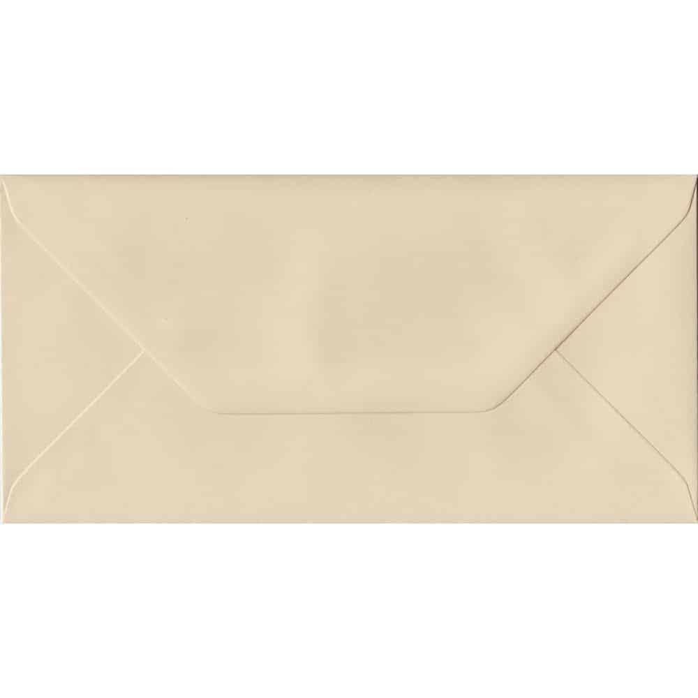 100 DL Cream Envelopes. Cream. 110mm x 220mm. 100gsm paper. Gummed Flap.