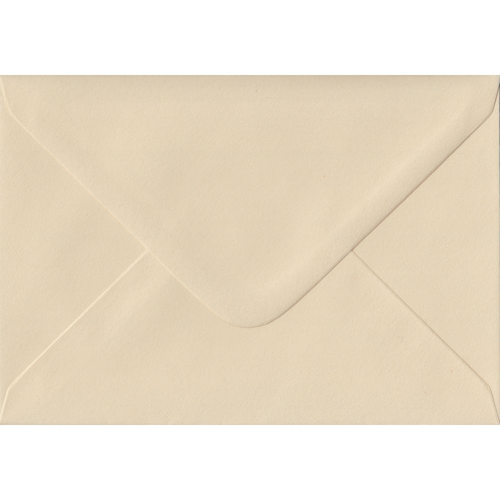 100 A6 Cream Envelopes. Cream. 114mm x 162mm. 100gsm paper. Gummed Flap.