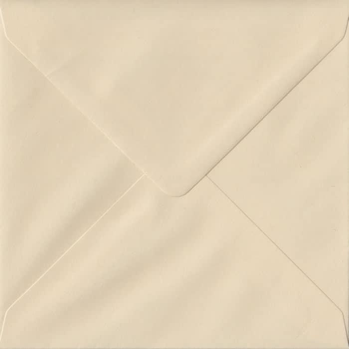 100 Square Cream Envelopes. Cream. 155mm x 155mm. 100gsm paper. Gummed Flap.