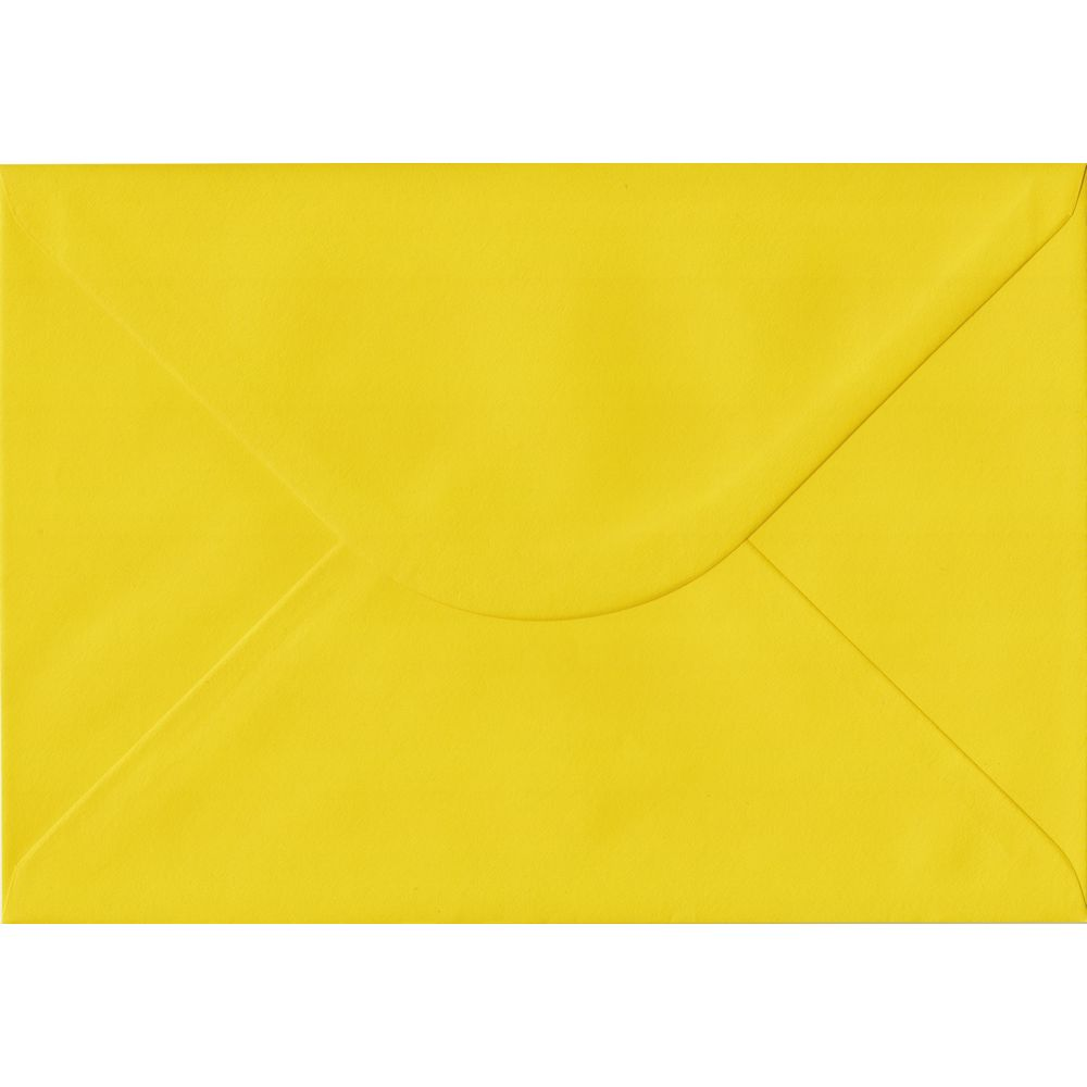 100 A5 Yellow Envelopes. Daffodil Yellow. 162mm x 229mm. 100gsm paper. Gummed Flap.