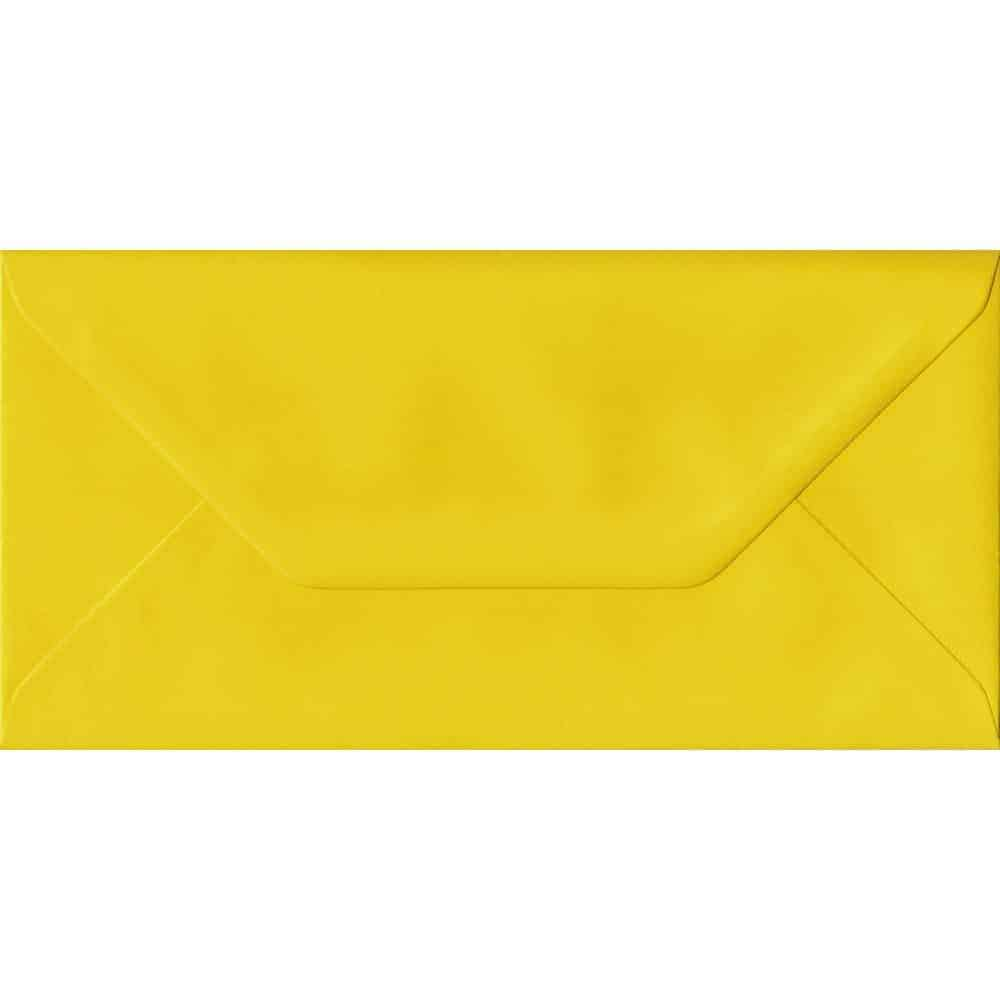 100 DL Yellow Envelopes. Daffodil Yellow. 110mm x 220mm. 100gsm paper. Gummed Flap.