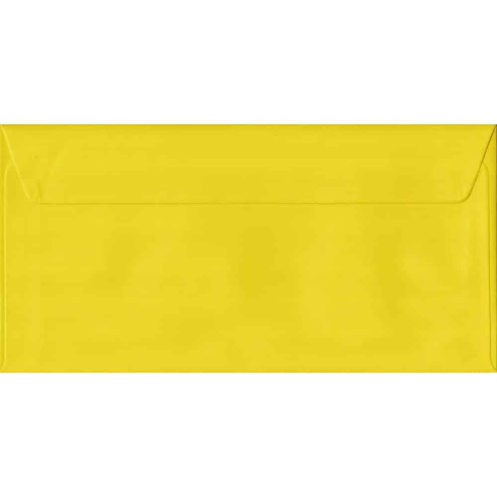 100 DL Yellow Envelopes. Daffodil Yellow. 110mm x 220mm. 100gsm paper. Peel/Seal Flap.