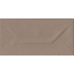100 DL Kraft Envelopes. Recycled Fleck. 110mm x 220mm. 100gsm paper. Gummed Flap.