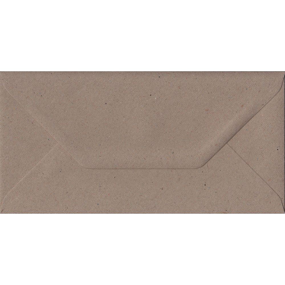 100 DL Kraft Envelopes. Recycled Fleck. 110mm x 220mm. 100gsm paper. Gummed Flap.