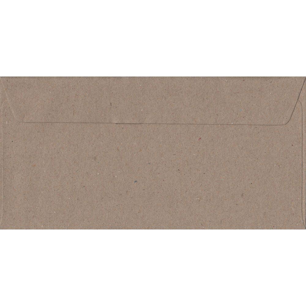 100 DL Kraft Envelopes. Recycled Fleck. 110mm x 220mm. 100gsm paper. Peel/Seal Flap.