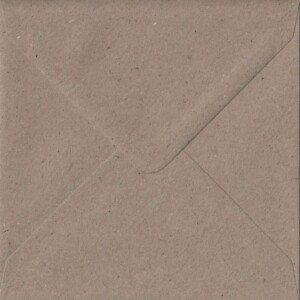 100 Square Kraft Envelopes. Recycled Fleck. 155mm x 155mm. 100gsm paper. Gummed Flap.