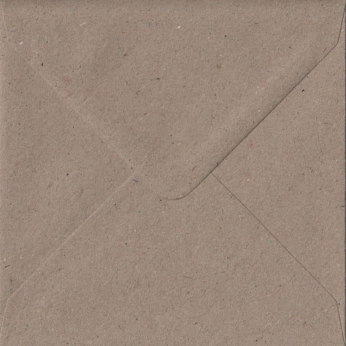 100 Square Kraft Envelopes. Recycled Fleck. 155mm x 155mm. 100gsm paper. Gummed Flap.