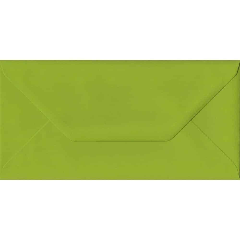 100 DL Green Envelopes. Fresh Green. 110mm x 220mm. 100gsm paper. Gummed Flap.