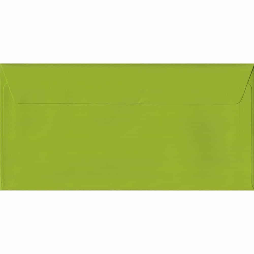 100 DL Green Envelopes. Fresh Green. 110mm x 220mm. 100gsm paper. Peel/Seal Flap.