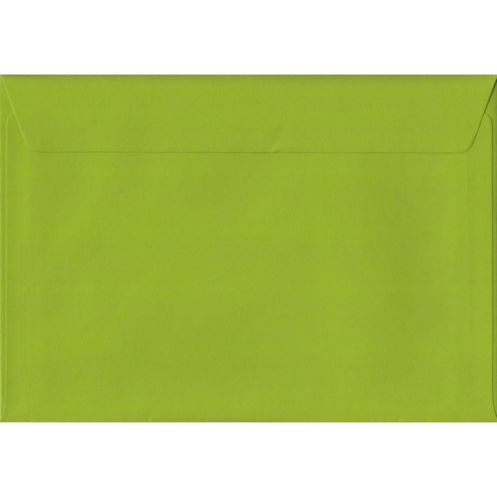 100 A5 Green Envelopes. Fresh Green. 162mm x 229mm. 100gsm paper. Peel/Seal Flap.