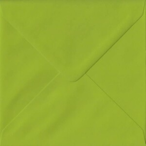 100 Square Green Envelopes. Fresh Green. 155mm x 155mm. 100gsm paper. Gummed Flap.