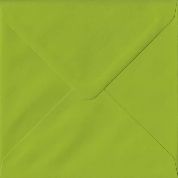 100 Square Green Envelopes. Fresh Green. 155mm x 155mm. 100gsm paper. Gummed Flap.