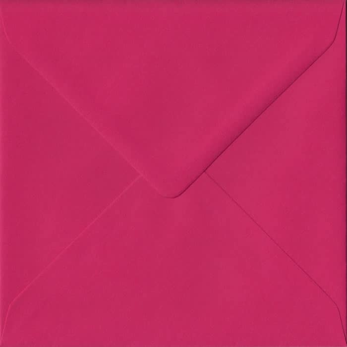 100 Square Pink Envelopes. Fuchsia Pink. 155mm x 155mm. 100gsm paper. Gummed Flap.