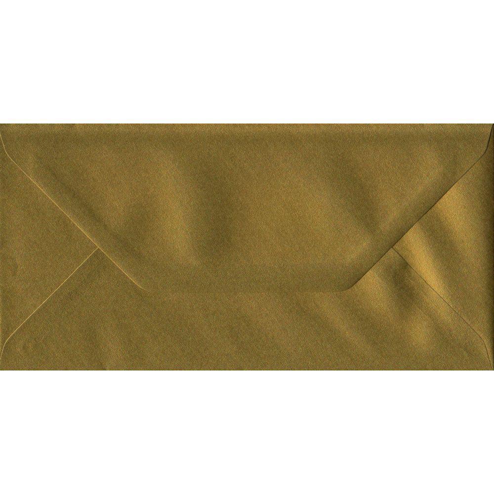 100 DL Gold Envelopes. Metallic Gold. 110mm x 220mm. 100gsm paper. Gummed Flap.