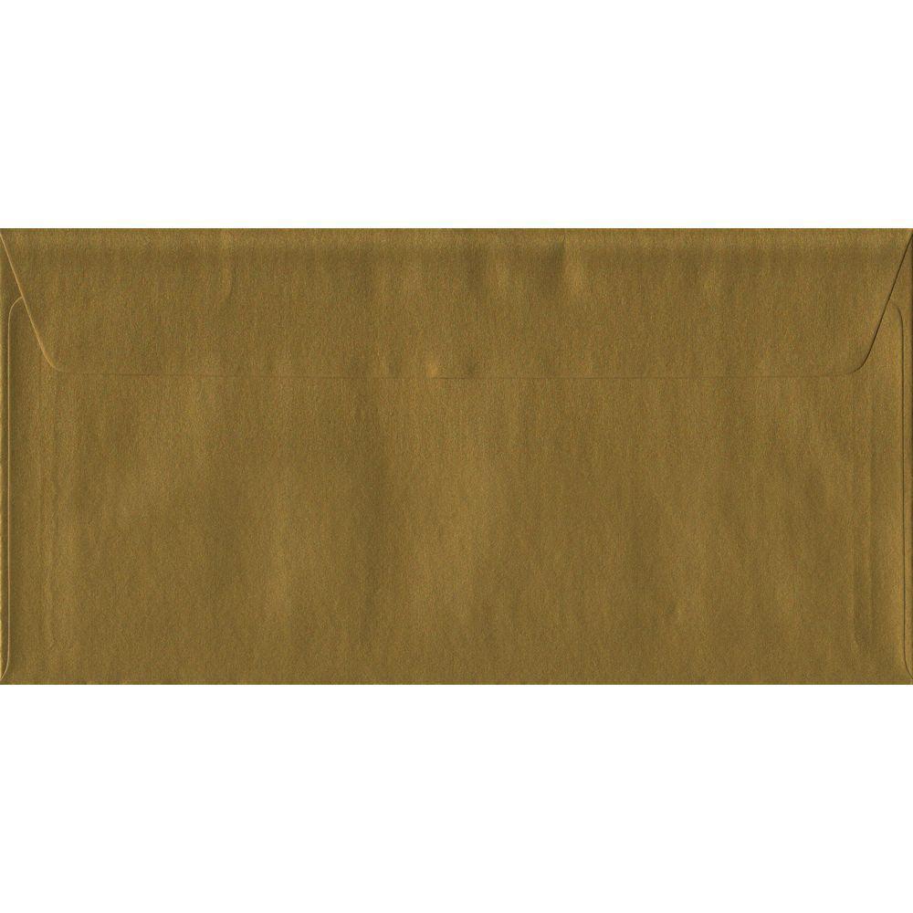 100 DL Gold Envelopes. Metallic Gold. 110mm x 220mm. 100gsm paper. Peel/Seal Flap.