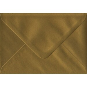 100 A6 Gold Envelopes. Metallic Gold. 114mm x 162mm. 100gsm paper. Gummed Flap.