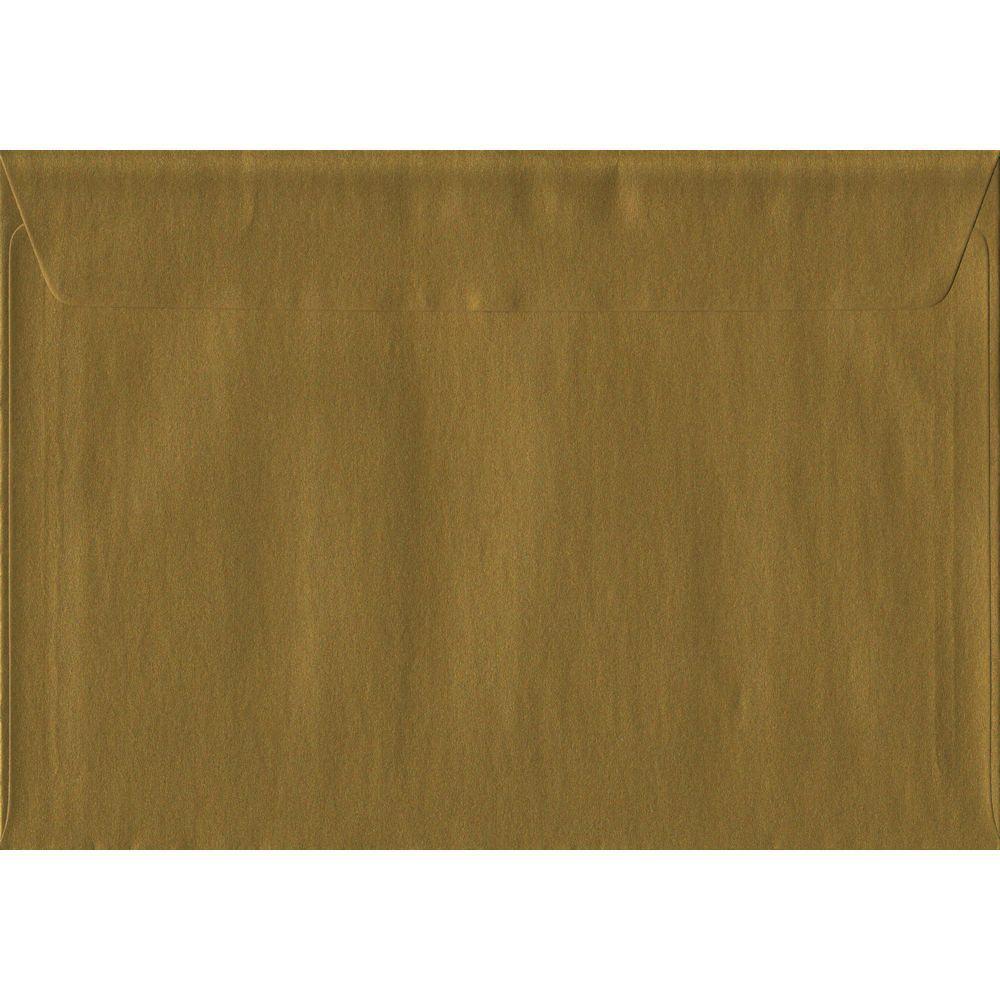 100 A5 Gold Envelopes. Metallic Gold. 162mm x 229mm. 100gsm paper. Peel/Seal Flap.