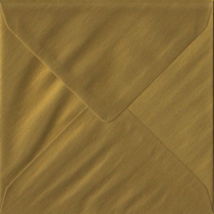 100 Square Gold Envelopes. Metallic Gold. 155mm x 155mm. 100gsm paper. Gummed Flap.