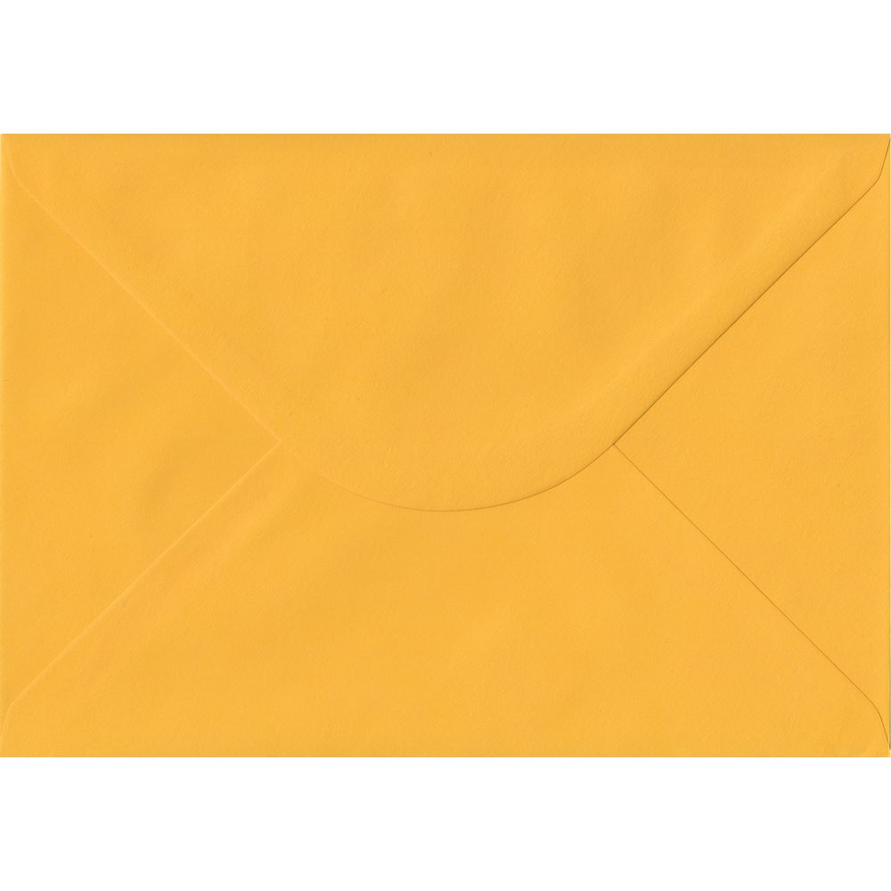 100 A5 Yellow Envelopes. Golden Yellow. 162mm x 229mm. 100gsm paper. Gummed Flap.