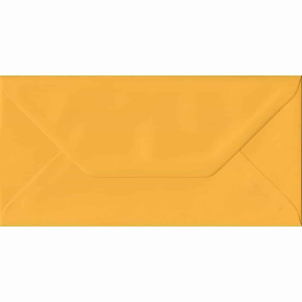 100 DL Yellow Envelopes. Golden Yellow. 110mm x 220mm. 100gsm paper. Gummed Flap.