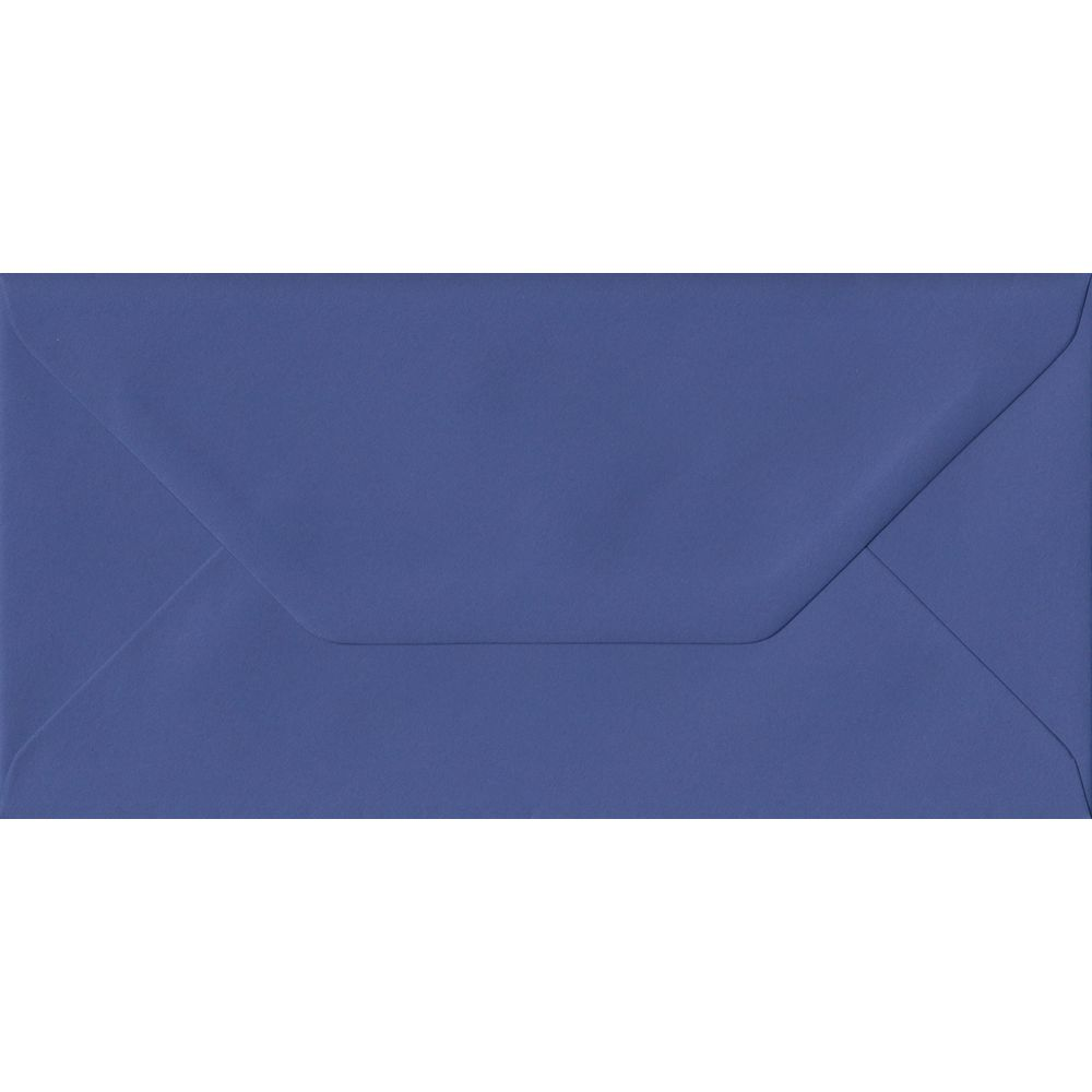 100 DL Blue Envelopes. Iris Blue. 110mm x 220mm. 100gsm paper. Gummed Flap.