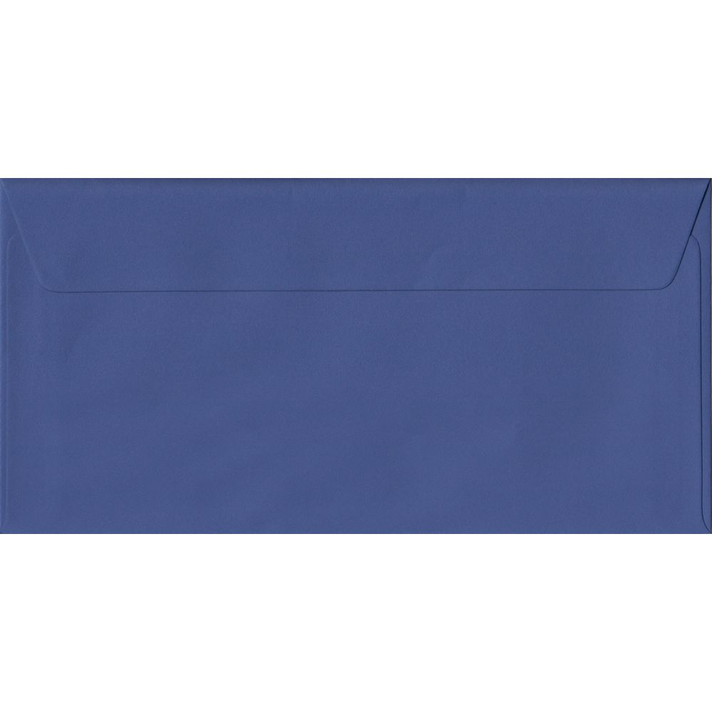 100 DL Blue Envelopes. Iris Blue. 110mm x 220mm. 100gsm paper. Peel/Seal Flap.