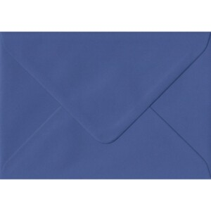 100 A6 Blue Envelopes. Iris Blue. 114mm x 162mm. 100gsm paper. Gummed Flap.