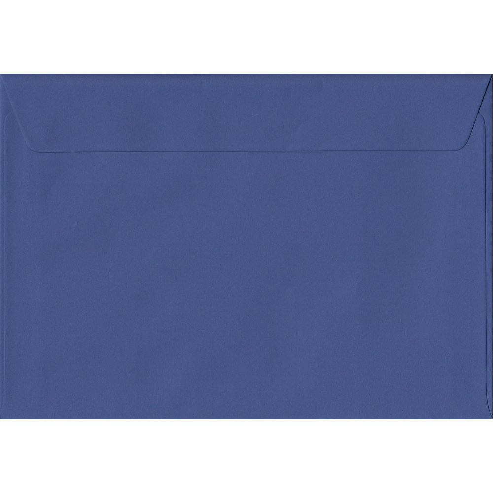 100 A5 Blue Envelopes. Iris Blue. 162mm x 229mm. 100gsm paper. Peel/Seal Flap.