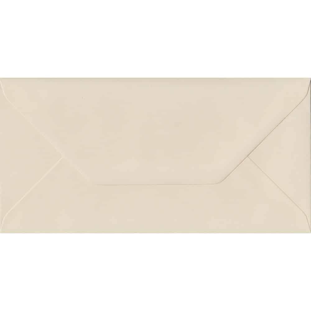 100 DL Cream Envelopes. Ivory. 110mm x 220mm. 100gsm paper. Gummed Flap.