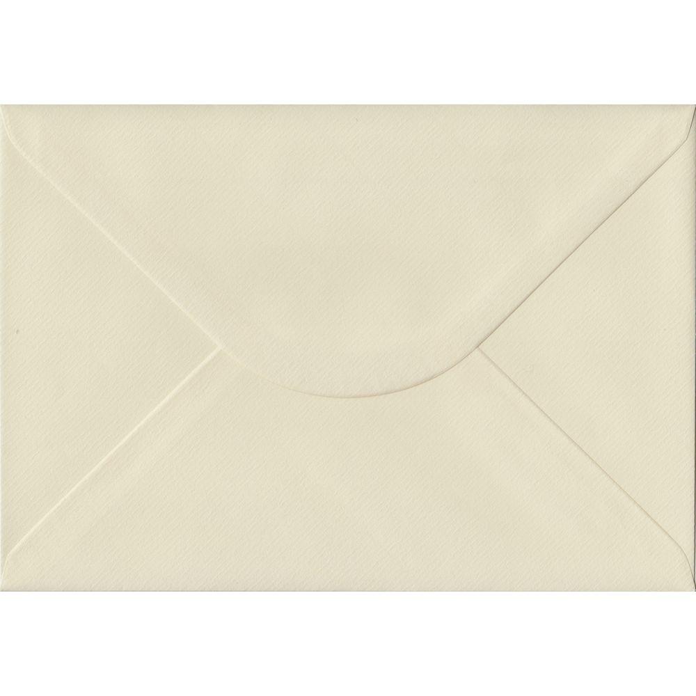 100 A5 Cream Envelopes. Ivory Laid. 162mm x 229mm. 100gsm paper. Gummed Flap.