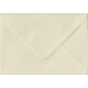 100 A6 Cream Envelopes. Ivory Laid. 114mm x 162mm. 100gsm paper. Gummed Flap.